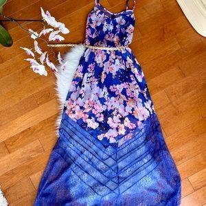 Gorgeous long sheer dress with a belt